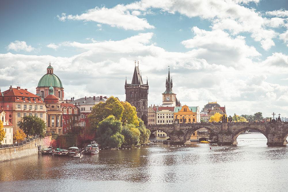 Charles Bridge and Vltava River in Sunny Prague